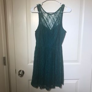 👗Forever 21 // Hunter Green Lace Skater Dress